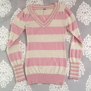 Poof - Pink and Cream Sweater